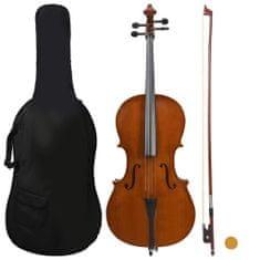 shumee Cello set s obalem a smyčcem z přírodních žíní tmavé dřevo 4/4