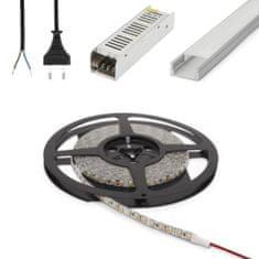 PHENOM Set 5x 1m ALU profil mat + LED trak 9,6W/m 4200K 5m + napajalnik 60W + priključna vrvica
