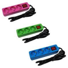 ENTAC Set 3 barvnih podaljškov moder, zelen in roza 3680W 3G1.0 na 3 vtičnice s stikalom