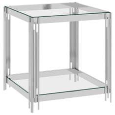 shumee Klubska mizica srebrna 55x55x55 cm nerjaveče jeklo in steklo