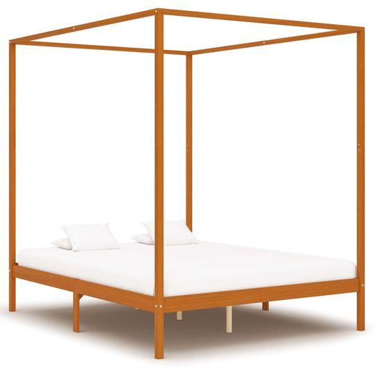 shumee Rama łóżka z baldachimem i 4 szufladami, sosna, 160 x 200 cm