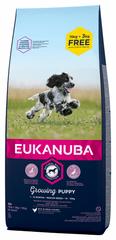 Eukanuba suha hrana za mladiče, Puppy & Junior Medium Breed, 15 kg + 3 kg gratis