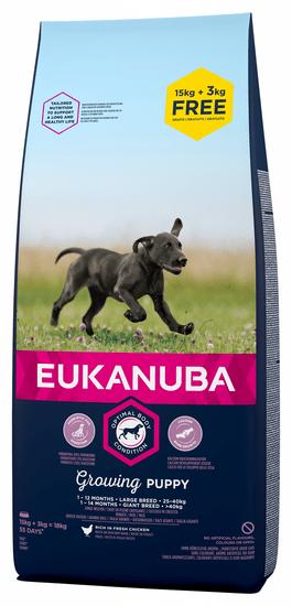 Eukanuba suha hrana za mladiče, Puppy Large Breed, 18 kg