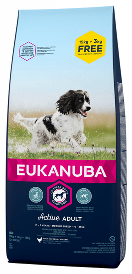 Eukanuba Adult Medium Breed 15 kg + 3 kg Zdarma