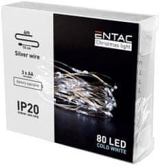 ENTAC 3x 4m 80 LED božično - novoletne micro LED lučke na baterije 3 x AA hladno bele