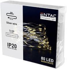ENTAC 3x 4m 80 LED božično - novoletne micro LED lučke na baterije 3 x AA toplo bele