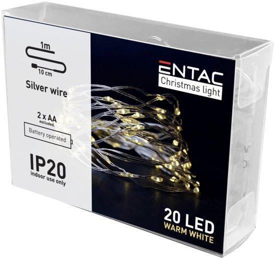 ENTAC 8x 1m 20 LED božično - novoletne micro LED lučke na baterije 2 x AA toplo bele