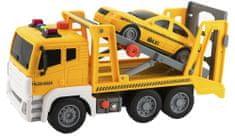 Teddies Auto kamion přepravník+1 auto na setrvačník se zvukem se světlem