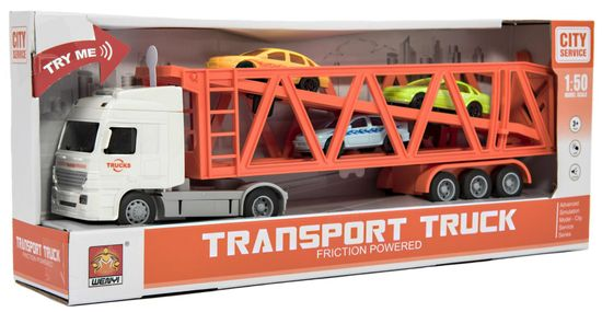 Teddies Kamionski transporter + 3 avtomobil, s svetlobo in zvokom