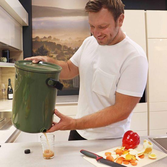 Skaza Bokashi Organko 2 kompostnik, 9,6 l, oliven + posip, 1 kg