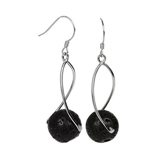 JwL Luxury Pearls Ezüst lógó fülbevaló fekete lávakővel JL0280