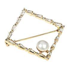 JwL Luxury Pearls Bleščeča broška iz pozlačenega perla JL0520