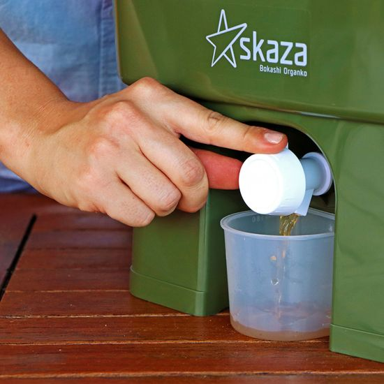 Skaza Bokashi Organko set kompostnikov, 2 x 16 l, sivo-zelen + posip 1 kg