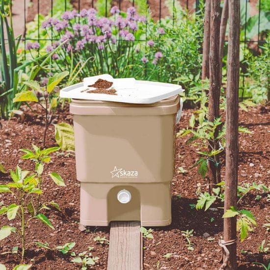Skaza Bokashi Organko set kompostnikov, 2 x 16 l, kapučino-bel + posip 1 kg