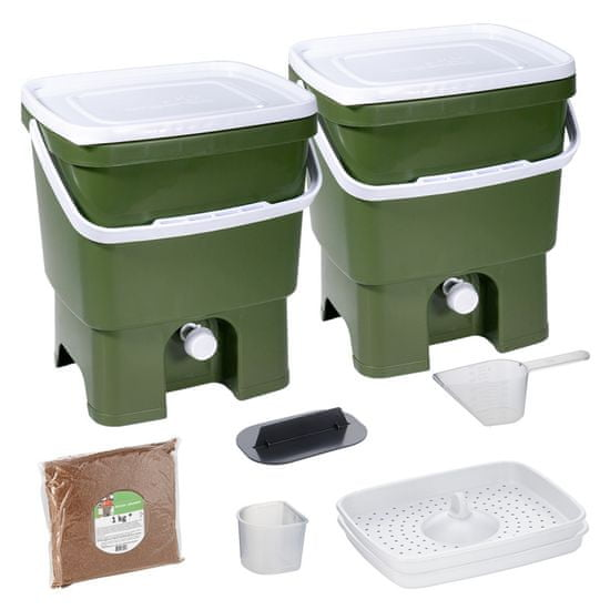 Skaza Bokashi Organko set kompostnikov, 2 x 16 l, olivno-bel + posip 1 kg