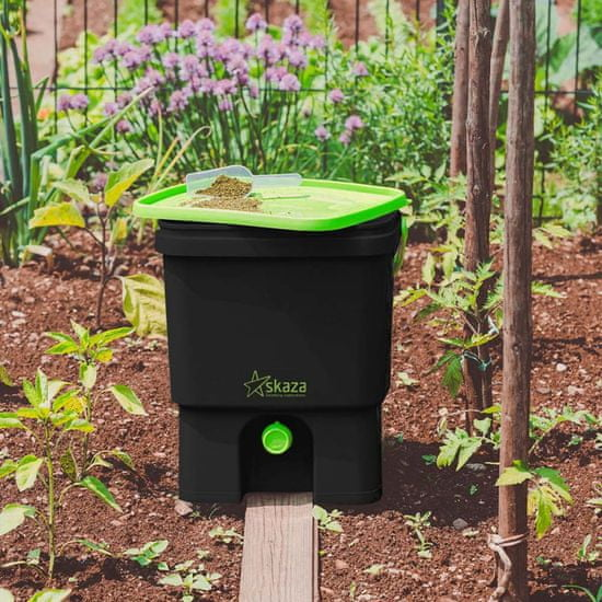 Skaza Bokashi Organko set kompostnikov, 2 x 16 l, črno-zelen + posip 1 kg