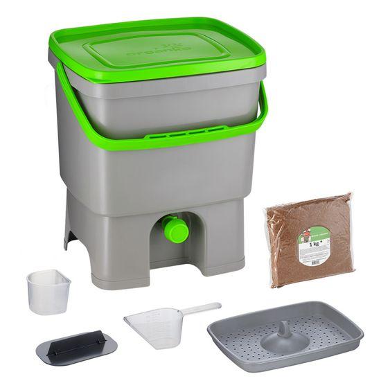 Skaza Bokashi Organko kompostnik, 16 l, sivo-zelen + posip 1 kg