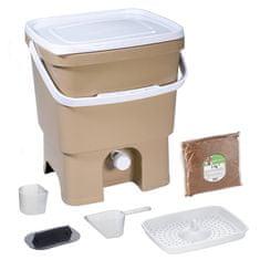 Skaza Bokashi Organko kompostnik, 16 l, kapučino-bel + posip 1 kg