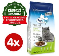 PreVital Naturel briketi za odrasle sterilizirane mačke, s perutnino, 4 x 1,4 kg