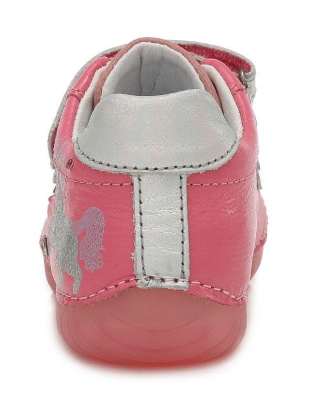 D-D-step dívčí svítící kožené tenisky 050-272B 30 růžová