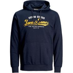 Jack&Jones Plus Bluza męska JJELOGO SWEAT HOOD 2 COL NOOS 20/21 PS 12173959 Navy Blaze r (Rozmiar XXL)