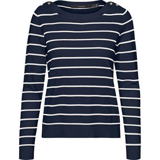 Vero Moda Ženski pulover VMALMA 10243710 Navy Blaze r W. SNOW BELI IN ZLATI GUMBI