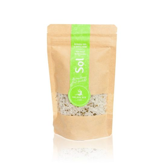 Solana Nin Mořská sůl s bazalkou v sáčku - 250 g