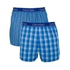 Calvin Klein 2 PACK - férfi alsónadrág LarkinPlaid-Atlantis, Gallagher Stripe-Atlantis (méret M)