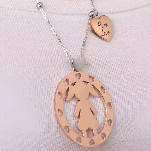 Morellato Jeklena dvobarvna ogrlica Girl Talismani SAQE01