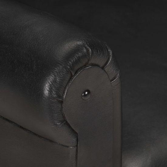 shumee Tubast stol črn iz pravega usnja