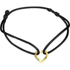 Brilio Črna zapestnica kabala z zlatim srcem KA7009