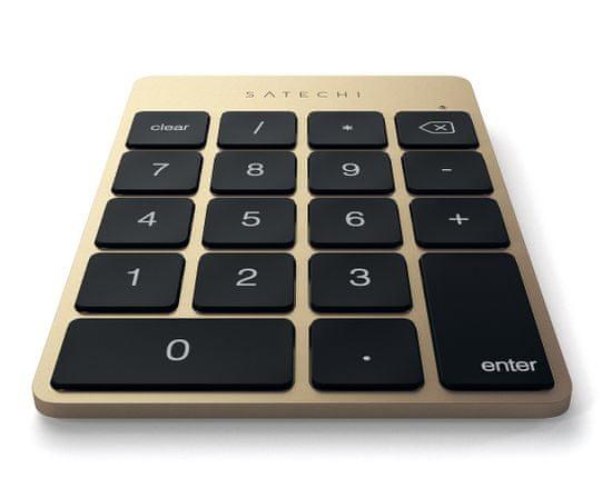 Satechi Slim brezžična številčna tipkovnica, Bluetooth, zlata