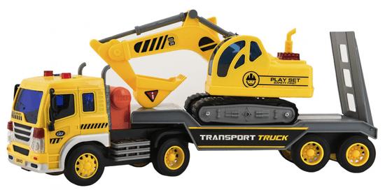 Teddies Tovornjak s transporterjem in bagrom, 38 cm