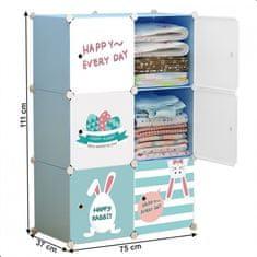 ATAN Dětská modulární skříňka EDRIN - modrá/dětský vzor