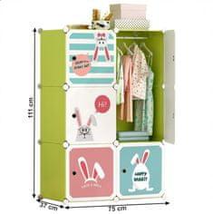 ATAN Dětská modulární skříňka TEKIN - zelená/dětský vzor