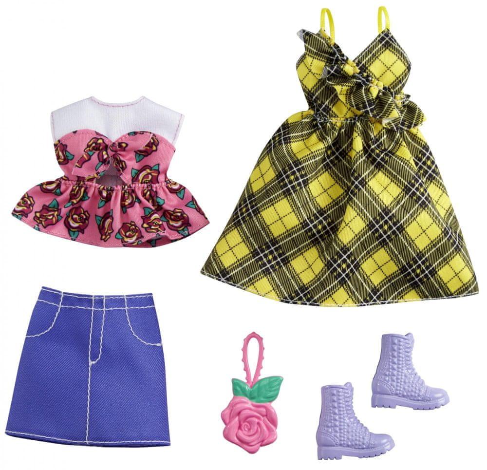 Mattel Barbie Oblečky 2 ks Žluté kostkované šaty