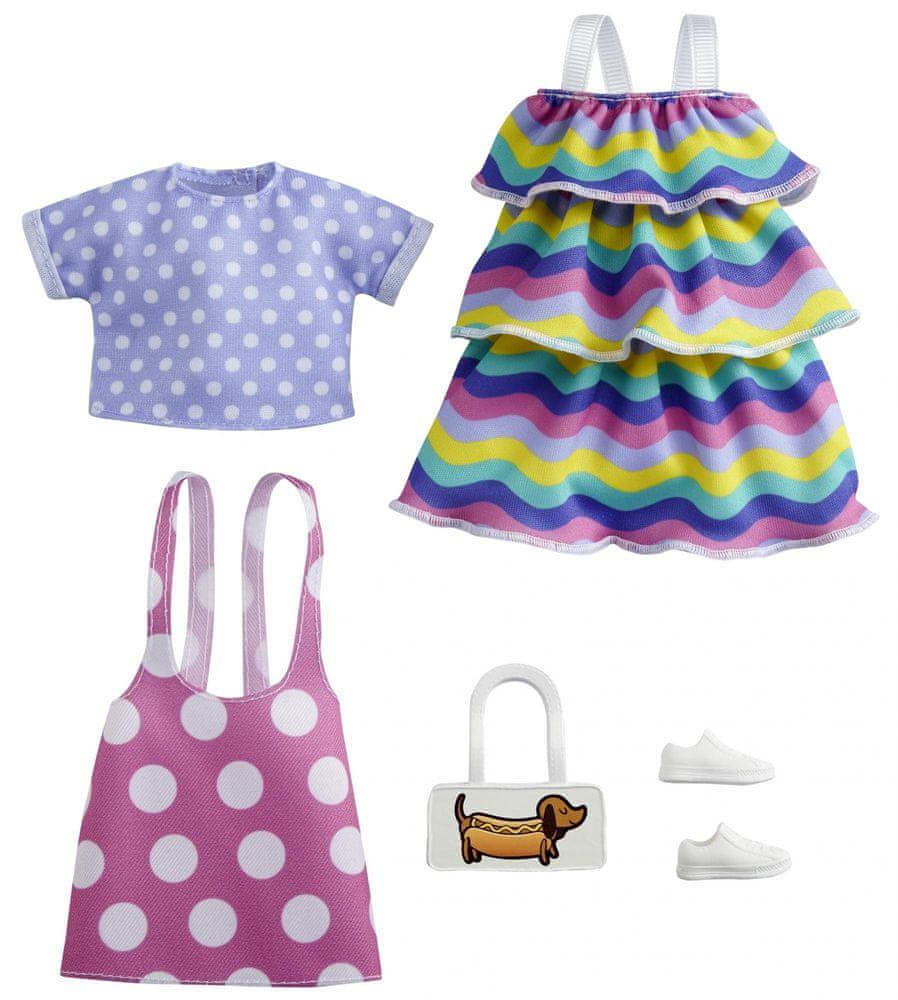 Mattel Barbie Oblečky 2 ks Puntíky a pruhy
