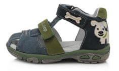 D-D-step sandały skórzane chłopięce AC290-612 19 ciemnoniebieskie
