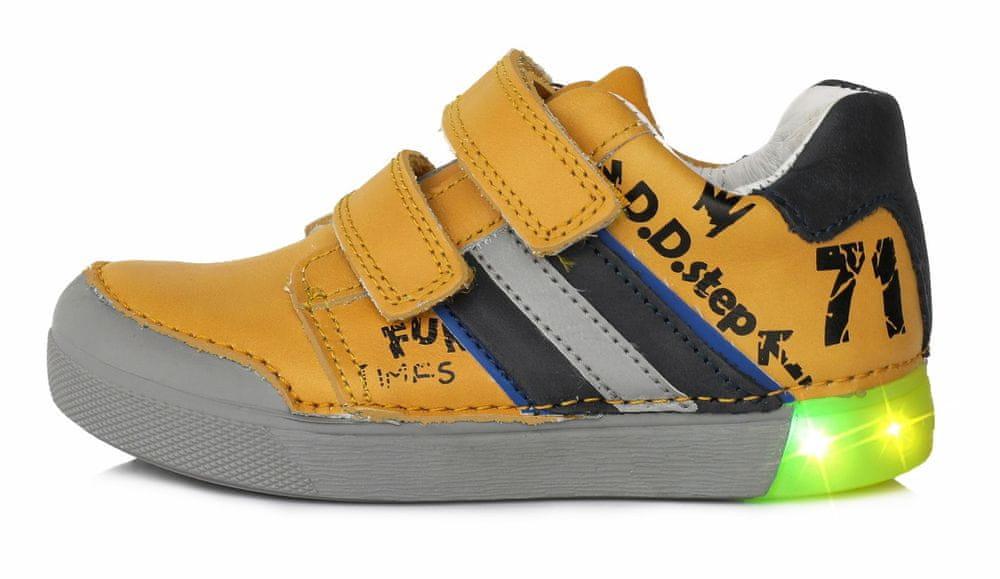 D-D-step Chlapecké svítící kožené tenisky 068-52A 29 žlutá