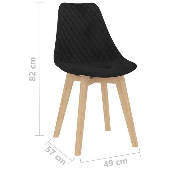 Greatstore Jedilni stoli 2 kosa črn žamet
