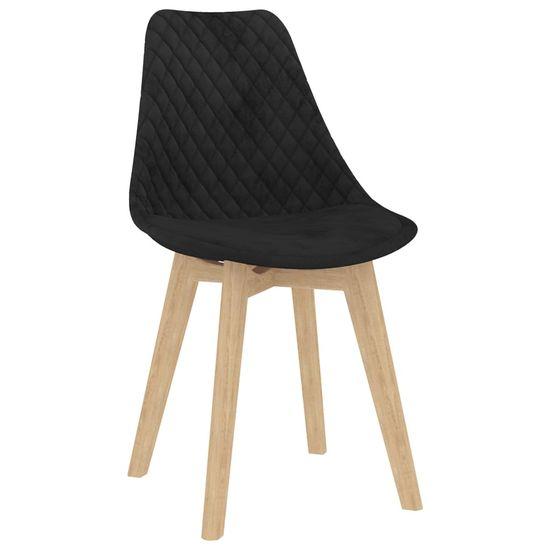 shumee Krzesła stołowe, 6 szt., czarne, aksamitne