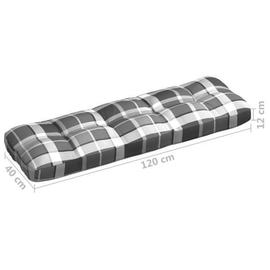 shumee Blazina za vrtni kavč Sivi tartan 120x40x12 cm Tkanina