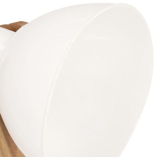 shumee Lampa podłogowa, biała, E27, lite drewno mango