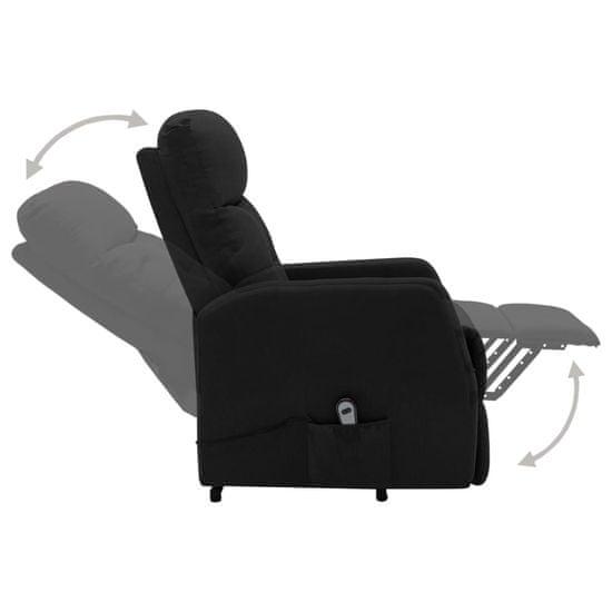 shumee Fotel rozkładany, podnoszony, czarny, obity tkaniną