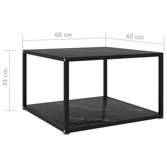 shumee čajna miza črna 60x60x35 cm kaljeno steklo