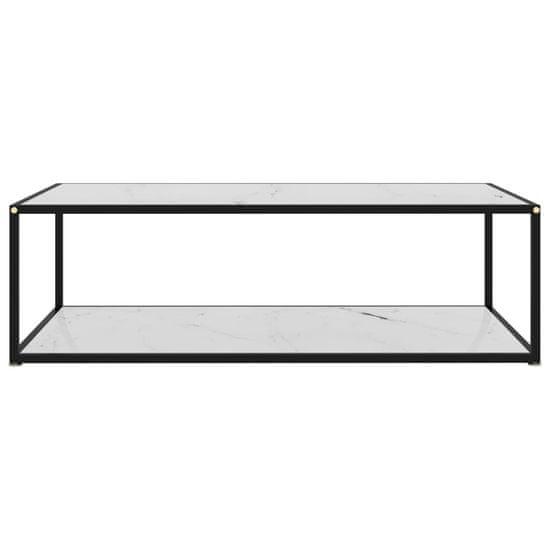 shumee čajna miza bela 120x60x35 cm kaljeno steklo