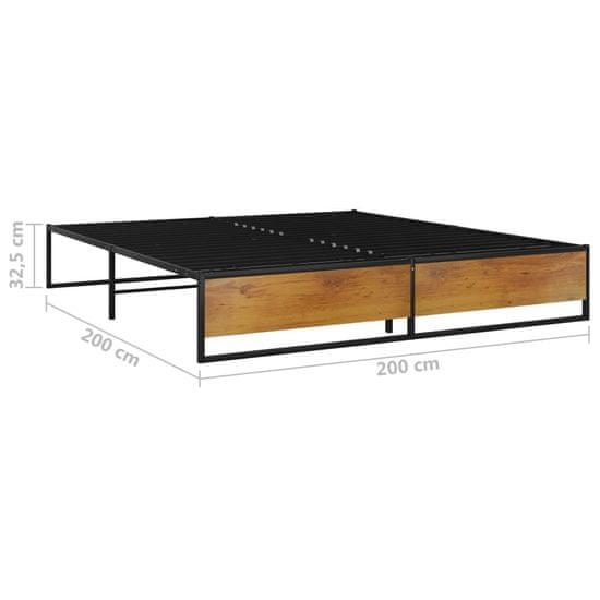 shumee fekete fém ágykeret 180 x 200 cm
