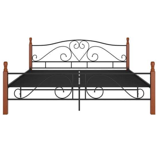 shumee posteljni okvir črna kovina 180x200 cm