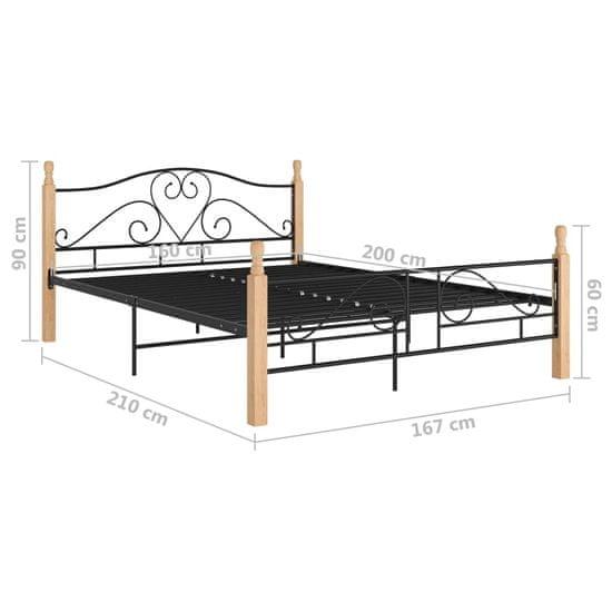 shumee posteljni okvir črna kovina 160x200 cm