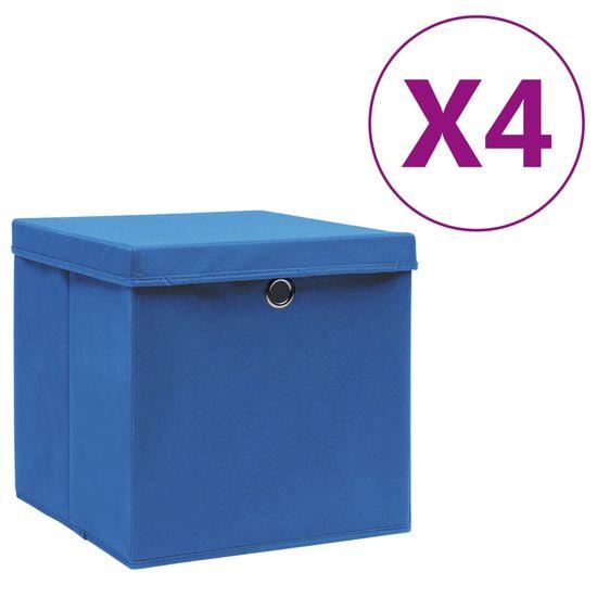 shumee Škatle s pokrovi 4 kosi 28x28x28 cm modre